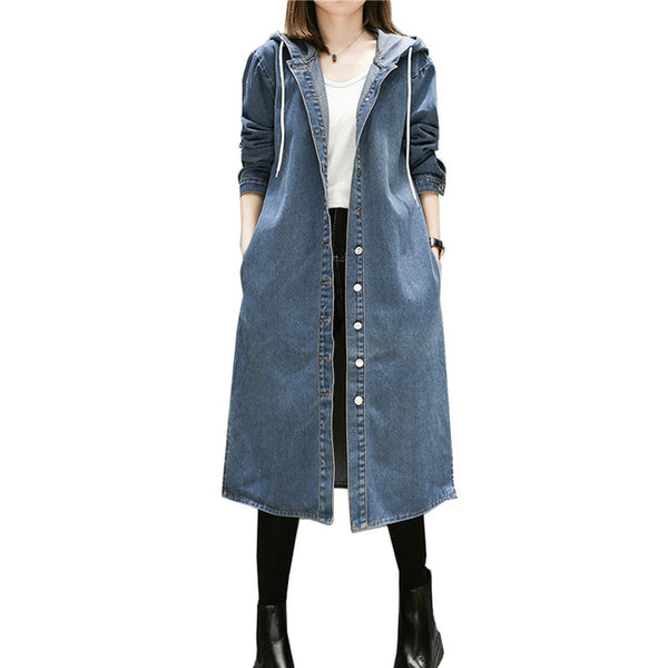Vintage Blue Hooded Denim Trench Coat Women 2018 Winter Fashion Jeans Long Coats Long Sleeve Plus Size Outwear Clothes