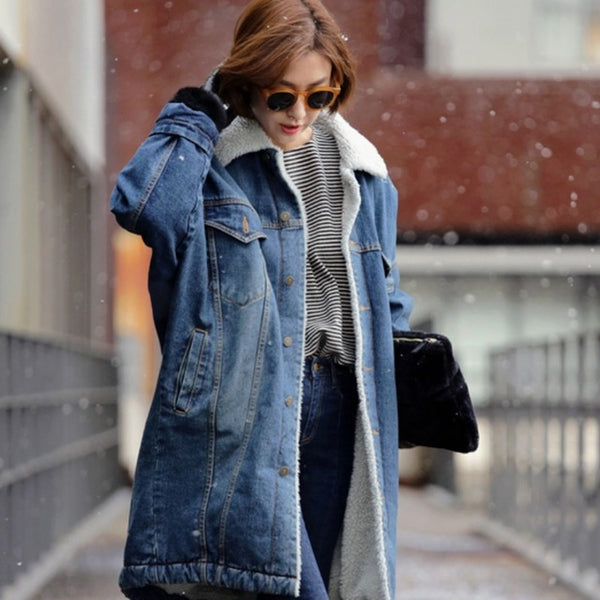 New Arrival Fashion Ladies Fleece Lined Winter Denim Coat Long Loose Warm Jean Jacket Fur Lining Overcoat Outwear