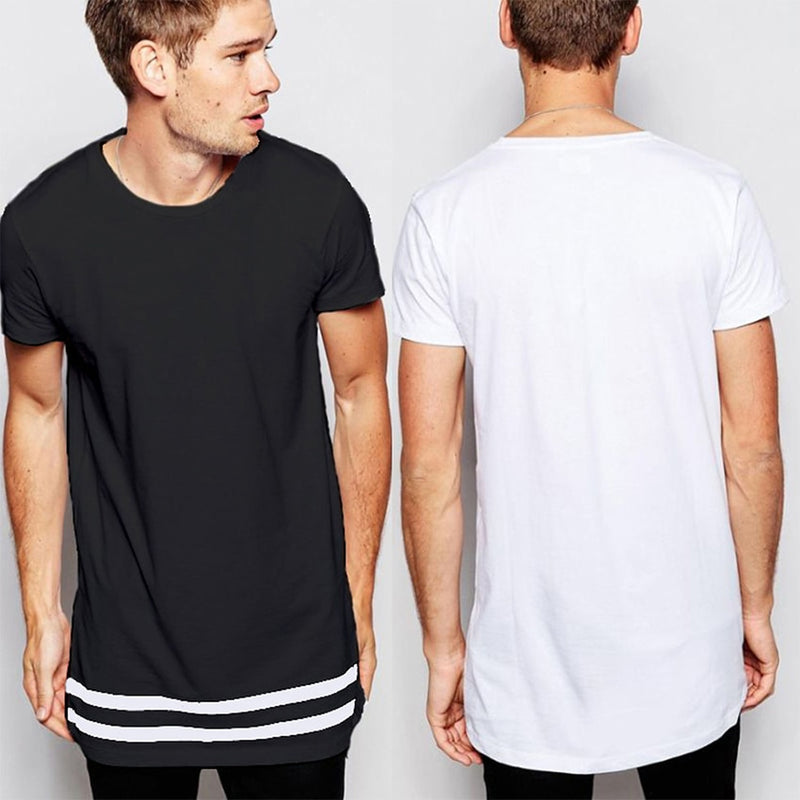 Men's Hem Striped T-shirt Extended Longline Hipster Tee Male Fashion Streetwear Tops Tee Homme Hip Pop T shirt with Striped Hem