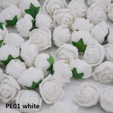 50Pcs 2cm Mini Artificial Flower PE Foam Rose Heads With Leaves Handmade Bouquet DIY Wreath Supplies Wedding Party Decoration85z