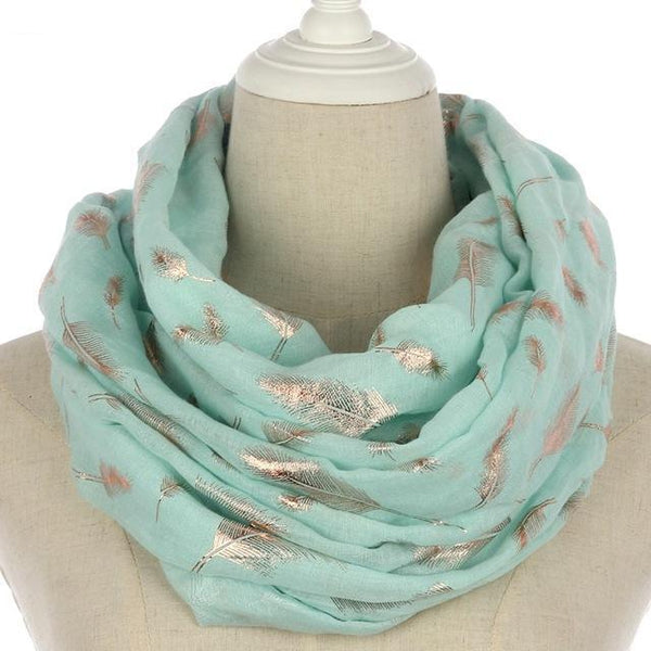 2018 New Fashion Mint Green Pink Foil Gold Feather Scarf Hijab Shawl For Womens