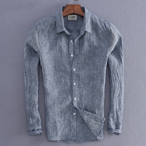 New Arrival Men Fashion Stripe Linen Shirt Male Casual Long-sleeve Top Quality Fluid Slim Fit Basic Shirt Import Clothing
