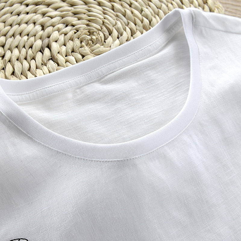 New white cartoon embroidery linen short-sleeved men T-shirt round neck summer t shirt men casual fashion tshirt men camisa