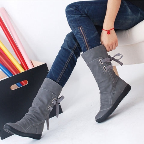Elegant New Fashion Women Autumn Winter Boots Mid-Calf Solid Flat With Boots Warm Fur Inside Ladies Shoes Big Size 34-43