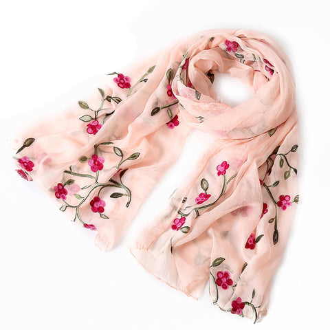 2018 new brand Embroidery women scarf spring summer silk scarve lady shawls and wraps pashmina beach stoles hijab
