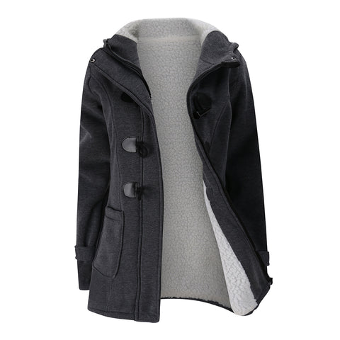Hot Women's Fashion Trench Coat Autumn Thick Lining Winter Jacket Overcoat Female Casual Long Hooded Coat Zipper Horn Button