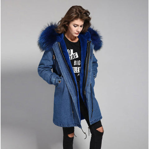 100% Real Large Raccoon Fur Collar Women Winter Coat Jacket Denim Thick Lining Outwear Brand Style Parkas
