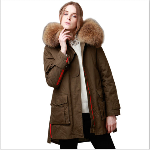 Winter Loose Jacket Coat Women's Parkas Army Green Big Natural Raccoon Fur Collar Hooded Woman Outwear