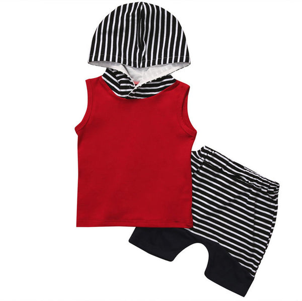 2pcs Newborn Toddler Baby Boy Hooded Tops Vest Shorts Pants Outfits Set Children Boys Summer Sleeveless Clothing