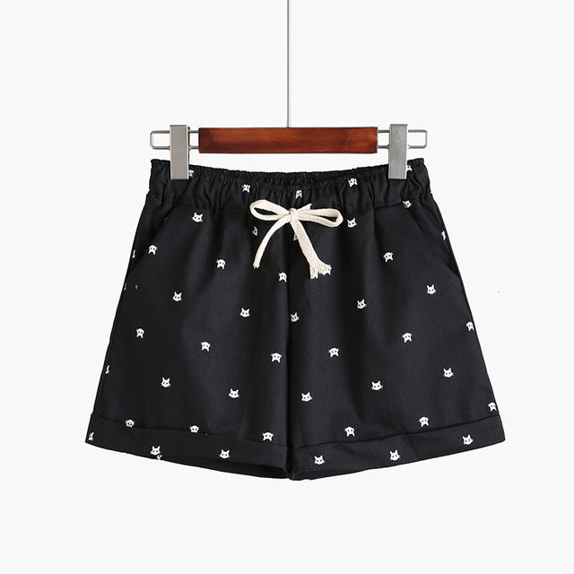 153f7900a 2018 New Cotton Women's Casual Shorts home-style cat's head candy-colo    JOHNKART.COM. }