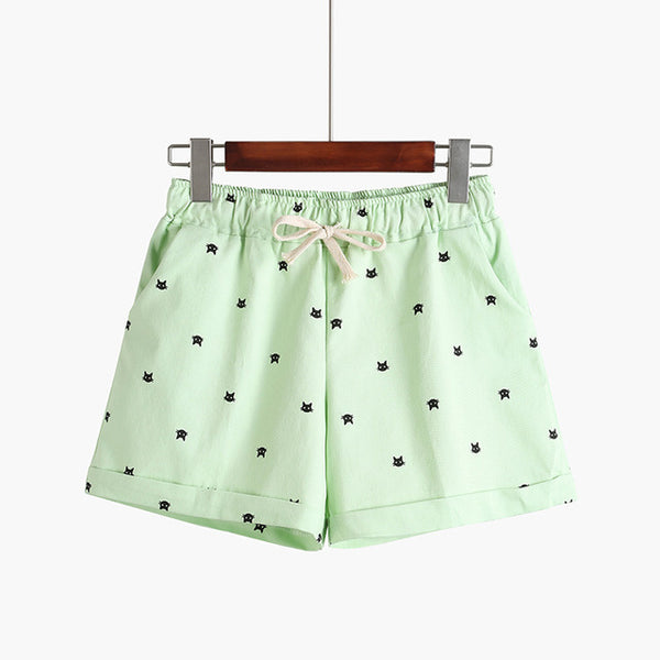 2018 New Cotton Women's Casual Shorts home-style cat's head candy-colored Shorts