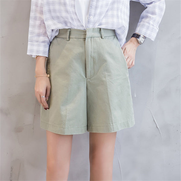 Spring Fashion Summer New Casual Shorts Women Leisure Loose Wide Leg Pantalon Femme Belt Office Lady Shorts Female Pure Color XL