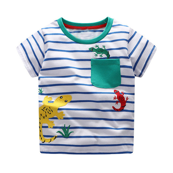 Baby Summer Top 100% Cotton Tee Shirt Fille Fashion Boys T Shirt Garcon Cartoon Pattern Kids Clothes Dinosaur Toddler Boy Shirts