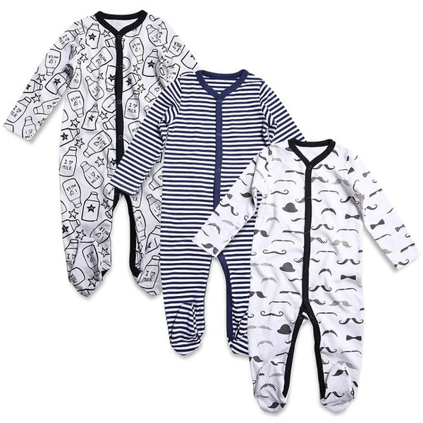 9df5d3bba 3PCS Newborn Baby Boy Girl Rompers Long Sleeve Cotton Embroider Jumpsuit  Unisex Baby Clothing Set Kids Pajamas Sets Printed
