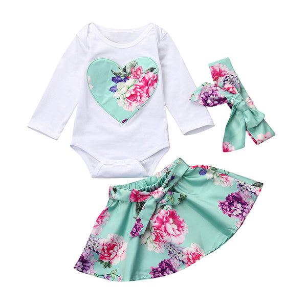 2Pcs Newborn Infant Baby Girl Floral Heart Bodysuit Tops + Skirt Outfits Clothes Set Long Sleeve Girls Bodysuits Sweet Beauty