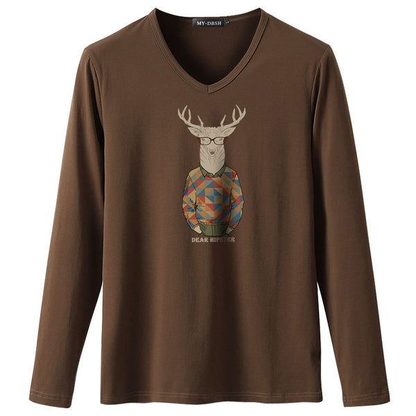 New Fashion Spring Summer Casual Printed T-Shirts Mens Fitness Long Sleeve T Shirts Classic Deer Head Funny Printing Man tshirt