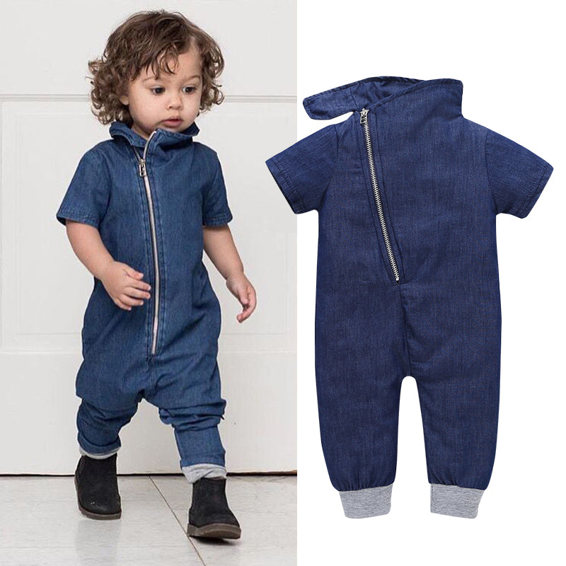 e67a8a6f0c61 2018 Hot Sale Summer Baby Boys Clothes Denim Short Sleeve Rompers Bebe