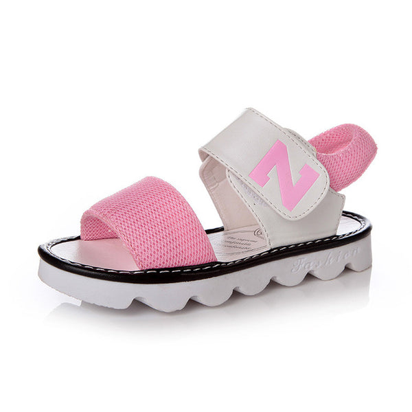 black pink yellow fashion brand designer summer new letter N girls sandals baby kids princess shoes