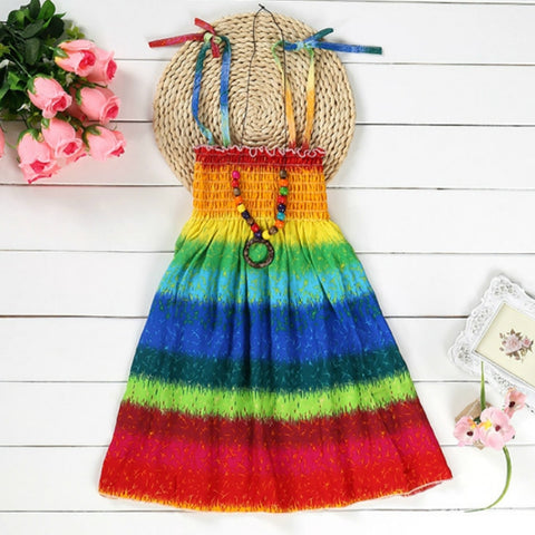 58236991251 Summer Dress for Girls Bohemian Beach Dress with Beading Necklace Sundress  Floral Sling Rainbow Dress Girl