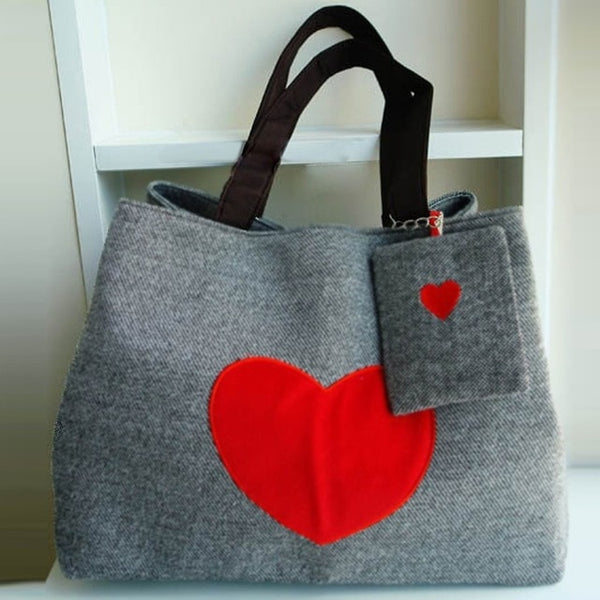 Beach Bag Heart Printed Bags for Women Handbag Canvas Tote Shopping Bags Large Capacity Casual Tote Handbags for Female