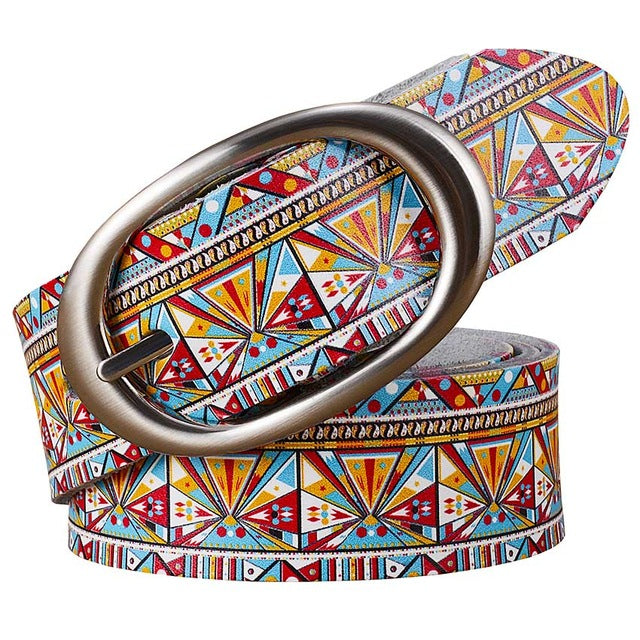 2018 Fashion Genuine leather Belts women Printing Multicolor geometric belt woman Wide luxury High quality female strap for jean