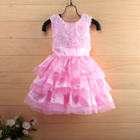 New Rose Garden Pink Rosette Silk Dress Easter Flower Baby Girl Wedding New +headband