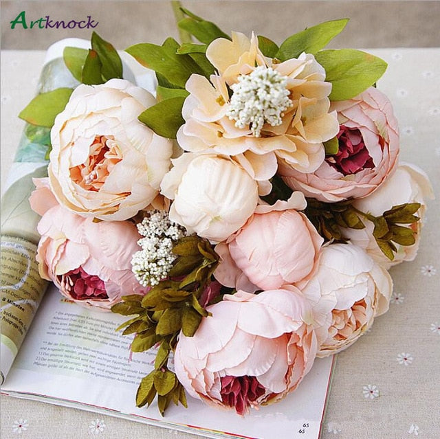 1bunch European Artificial Peony Decorative Party Silk Fake Flowers