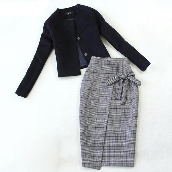 Two Piece Sets Women  Wool jacket Plus High Waist Pencil Skirt Long Sleeve Casual Women's Sets