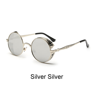 Retro Steampunk Sunglasses Women Men Vintage Round Metal Punk Mirror Gothic Sun Glasses oculos de sol feminino 881