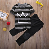 Cool Fashion Baby Boys Clothes 2016 New Kids Boy Crown Top Shirt Striped T-Shirt and Pant 2pcs Outfit Children Set