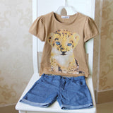 Children clothes sets 2018 summer style boutique Cartoon Girls clothing Tiger Tops + Denim shorts 2PCS kids sports suit