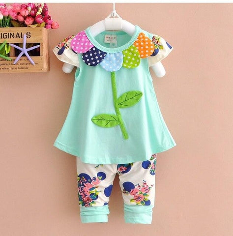 Kids Baby Girl Clothing Set Bowknot Summer Floral T-shirts Tops and Pants Leggings 2pcs Cute Children Clothes Girls Set