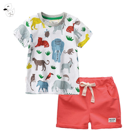 Children Sets Boy Cartoon T-shirts Shorts Summer Children Clothing Set Cotton Kids Outfits New Style Boys Clothes