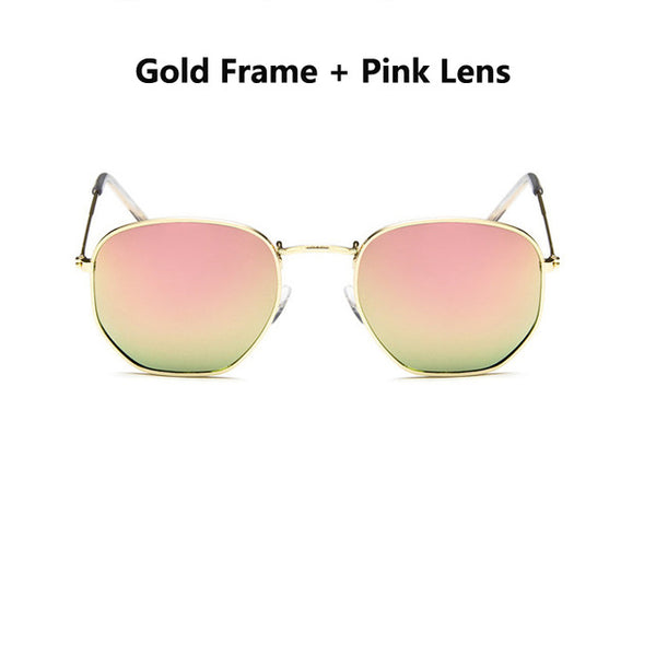 women's Hexagonal Sunglasses brand Shades Metal Flat Lens Ladies Glasses Unisex Oculos mens designer sunglasses vintage lunettes