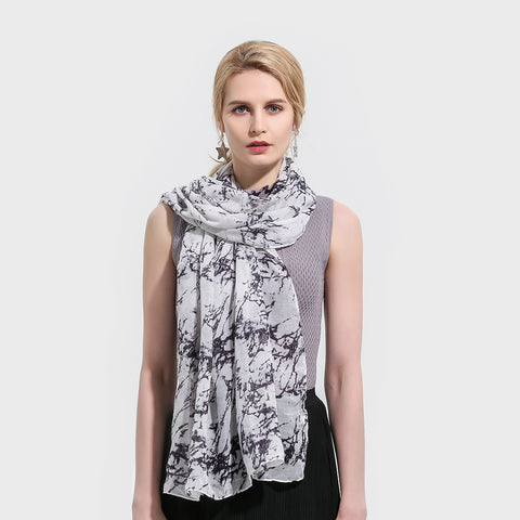 New Brand Fashion Lightweight Soft White Marble Pattern Belong Scarf Foulard Echarpe Scarves For Womens Ladies Gifts