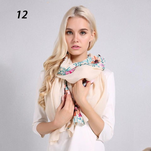 Women Embroidery Cotton Linen Scarf Soft Thin Pashmina Summer Winter Flowers Wraps Big Size 170*90cm Scarves Shawls