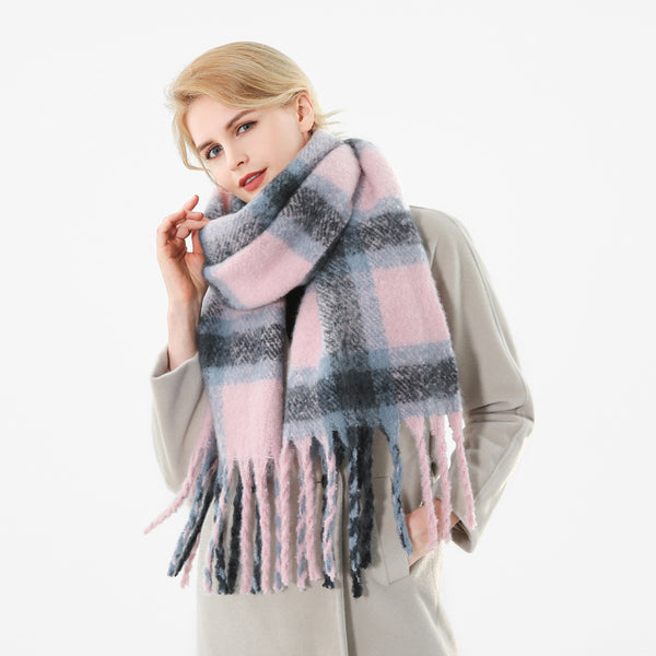 New Brand Winter Pink Grey Warm Tartan Plaid Cashmere Blanket Scarves Shawl Foulard Scarf For Womens Ladies