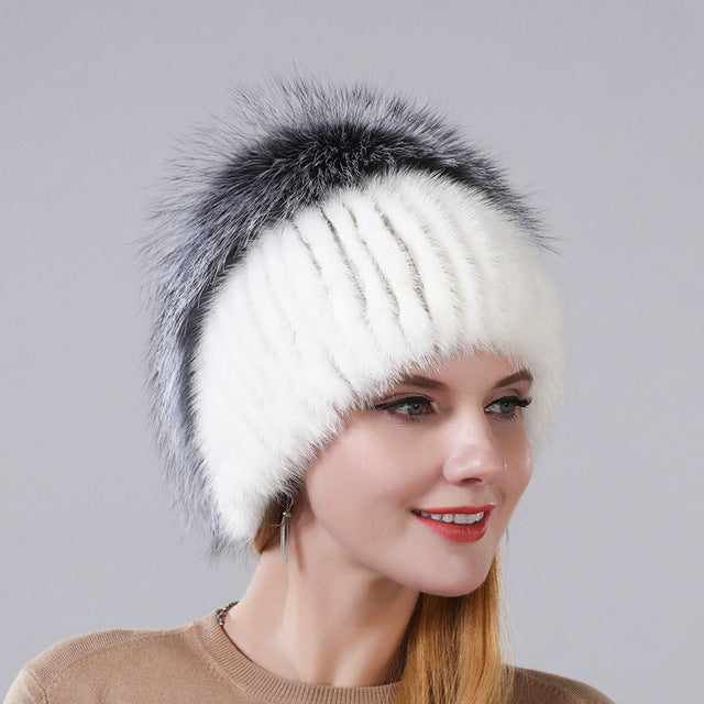 Winter Warm Cap Rabbit Fur Flower With Fox Fur On The Top New Style Natural Imported Mink Fur Warm Hats For Women Ear Warm Cap