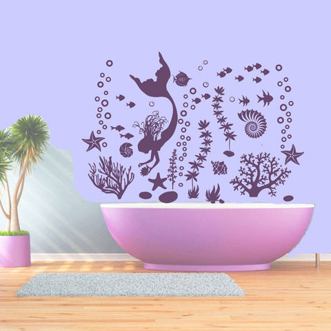 Modern Mermaid Wall Decals Fish Seaweed Starfish Vinyl Ocean Home Decoration Bathroom Plane Sticker Self-adhesive Murals B-11