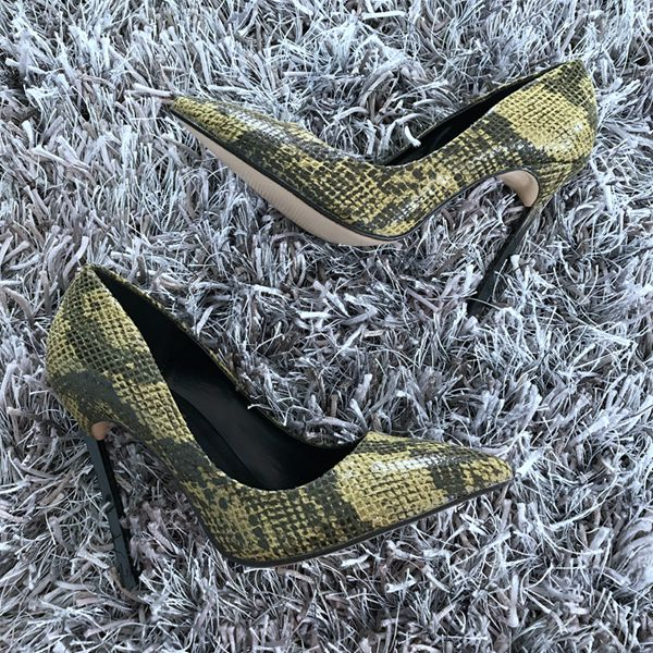 New Brand Sexy Women Pumps Snake Printed High Heels Pointed Toe High Heel Party Dress Shoes Woman Size 35-42 zapatos mujer