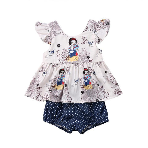 Newborn Baby Girls Clothes Floral  Cartoon Short Sleeve Tops Vest T shirt+Shorts Pants 2pcs Outfits Clothes Set