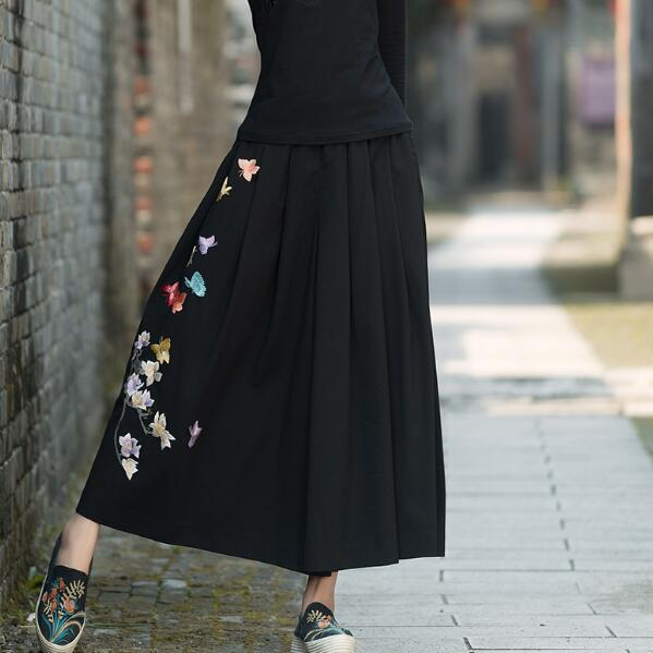 Ethnic pantskirt women autumn winter boho designer long black butterfly embroidery skirt traditional Chinese clothing AF602