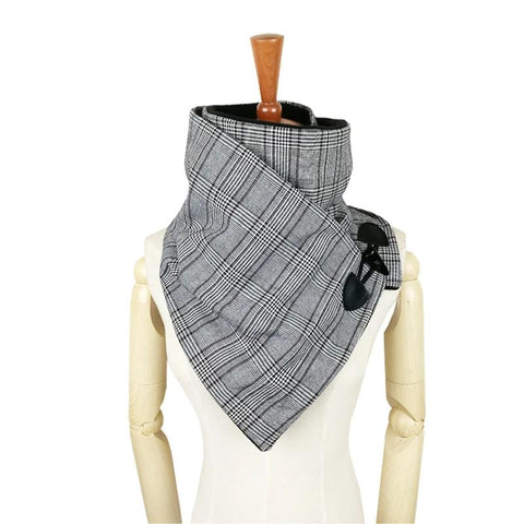 plaid Houndstooth wool winter women men scarf fashion shawl neck wrap scarves wrap Unisex scarf  Horn Toggle Closure