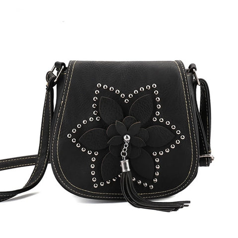 Designer Tassel Women Bags Rivet Flower Crossbody Bags Female Messenger Shoulder Bags sac a main