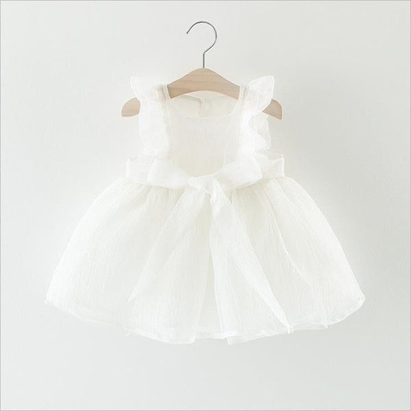 New Fashion Dresses Formal Newborn Wedding Dress Baby Girl Bow Pattern For Toddler 1 Years Birthday Party Baptism Dress Clothes