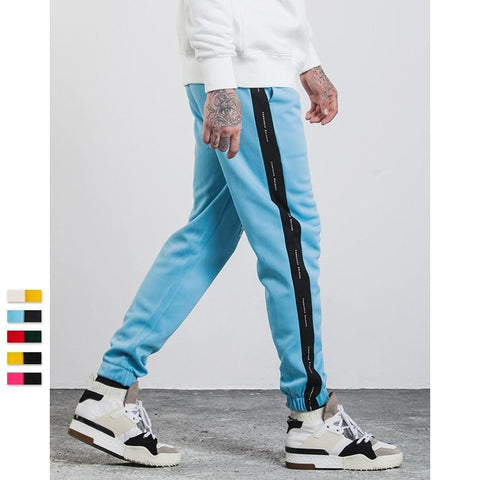 Mens Sweatpants Side Stripe Letter Printing Contrast Color Jogger Elastic Waist Mens SweatPants 357W17