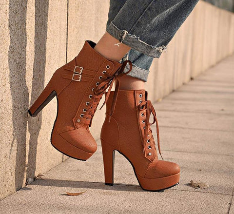 Ankle Boots For Women Platform High Heels Female Lace Up Shoes Woman Buckle Short Boot Casual Ladies Footwear