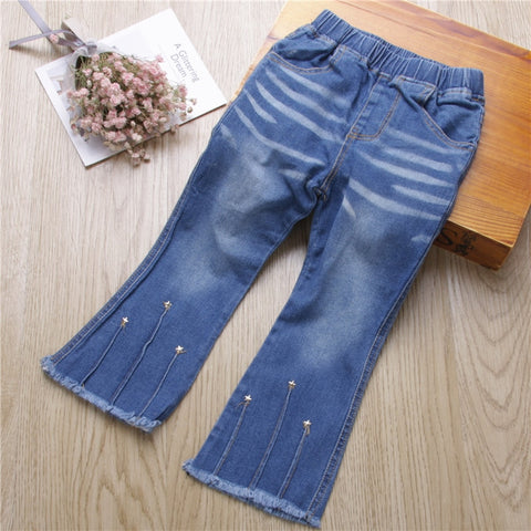 New Spring Fashion Baby Girl Jeans Solid Girl Flare Trousers Girls Pants Denim Casual Girl Clothes