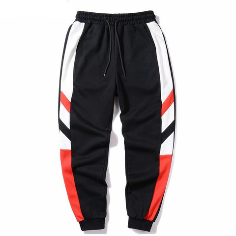 Streetwear Striped Color Block Patchwork Pants Girls Hip Hop Black Blue Casual Joggers Sweatpants Trousers Male