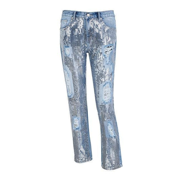 Sequin hole blue jeans women bottom Streetwear zipper fringe ripped jeans pants 2018 Spring trousers loose female denim
